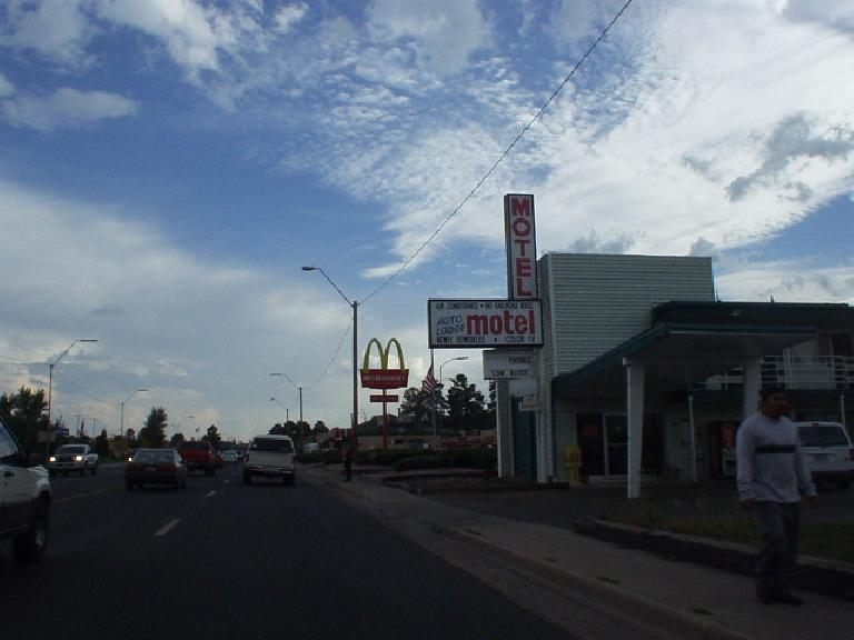The main strip was covered with motels and fast food joints.