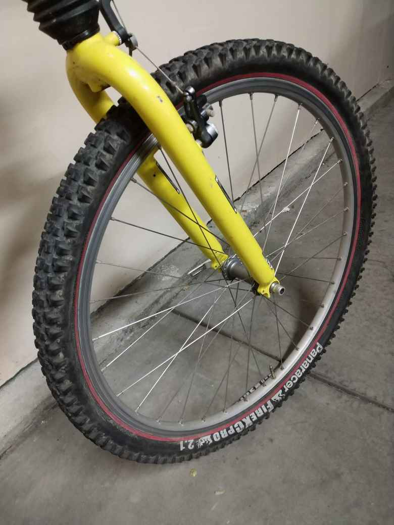 yellow fork, 26-inch Panaracer FireXComp 26x2.1 tire