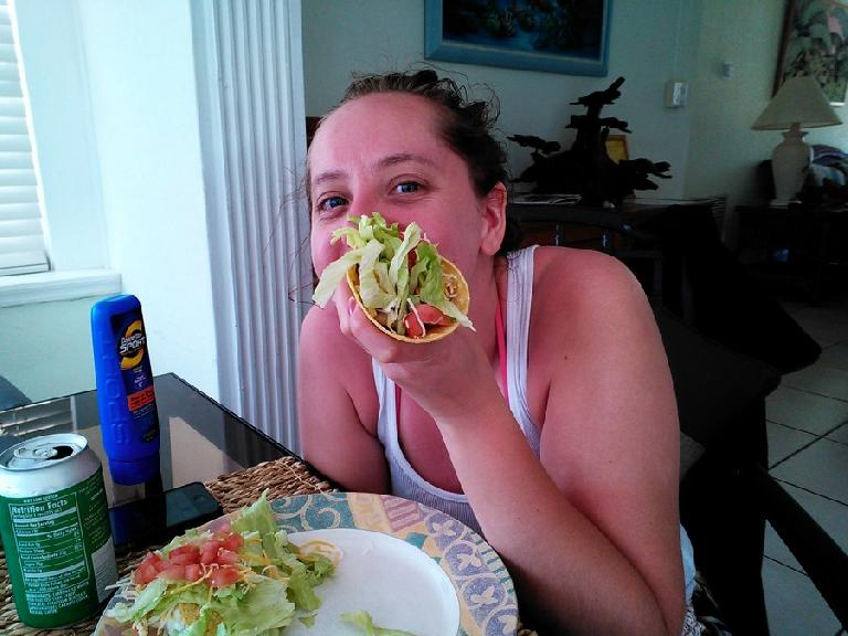 Kelly and her veggie-filled homemade taco. (February 11, 2012)