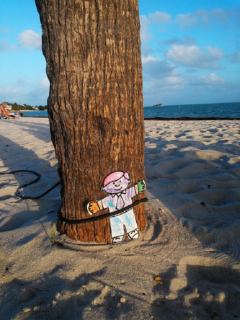 Flat Stanley tied to a tree. (February 11, 2012)