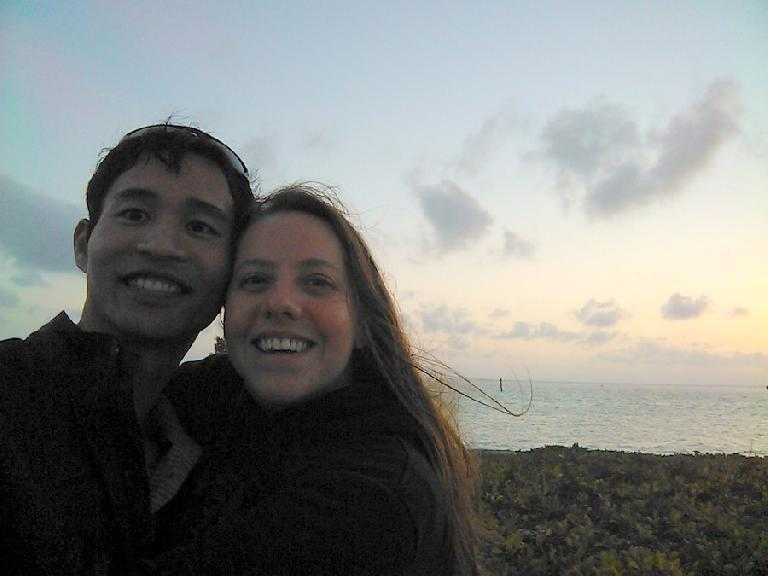 Felix Wong and Kelly watching a last Florida sunset. (February 11, 2012)