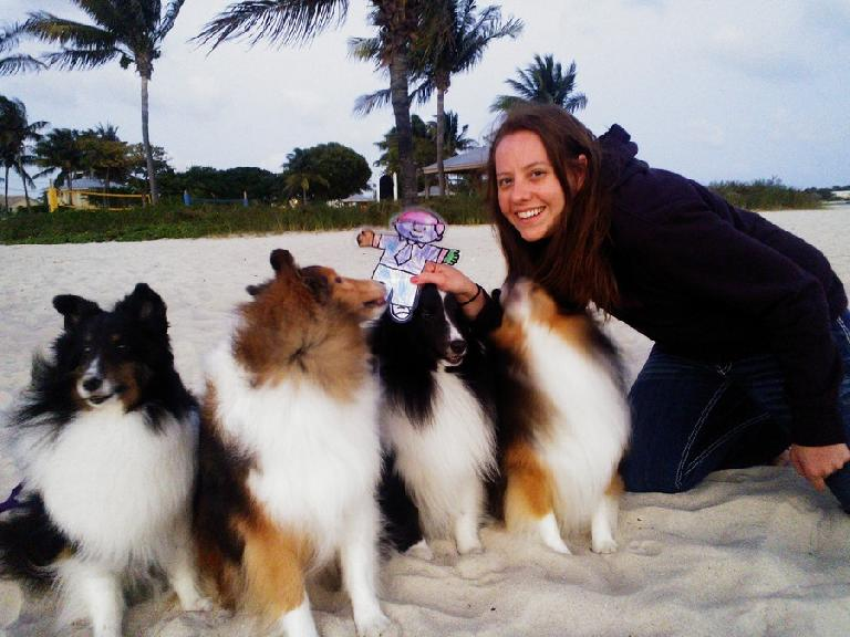 Flat Stanley and Kelly with the mini-collies.