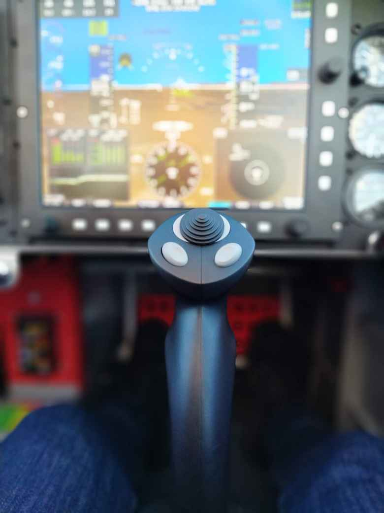 The control stick and the instrument cluster on my friend's Van's RV-14A homebuilt plane.