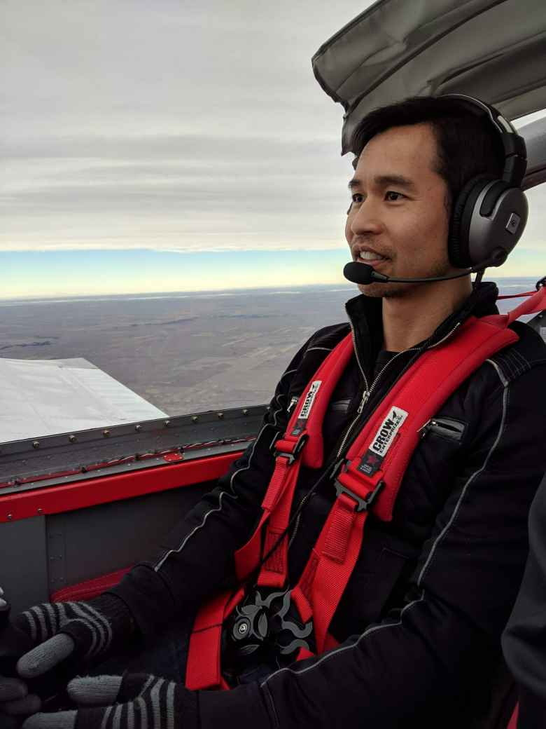 Felix Wong temporarily taking over the steering of the RV-14A homebuilt plane.