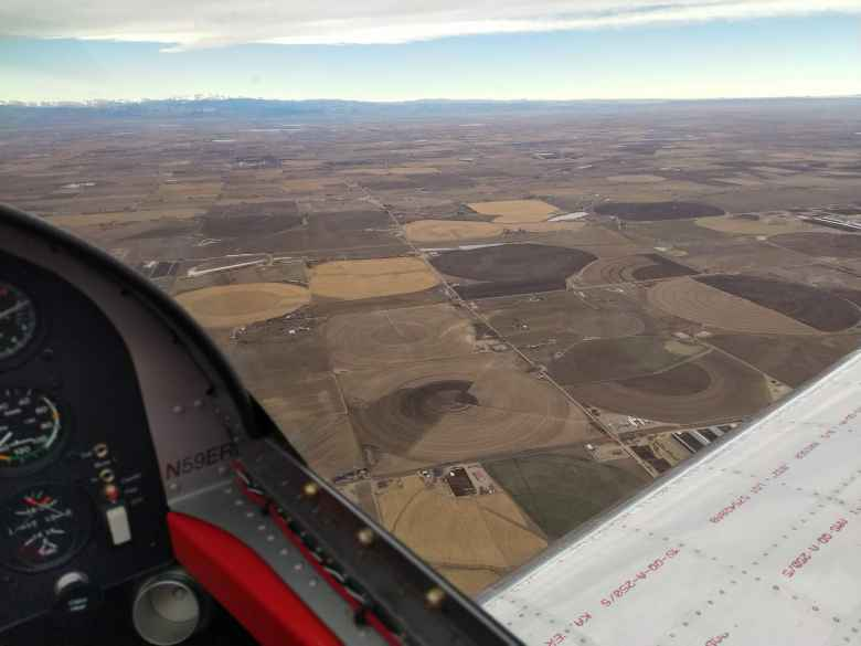Flying over farmland over northeastern Colorado near Nebraska.