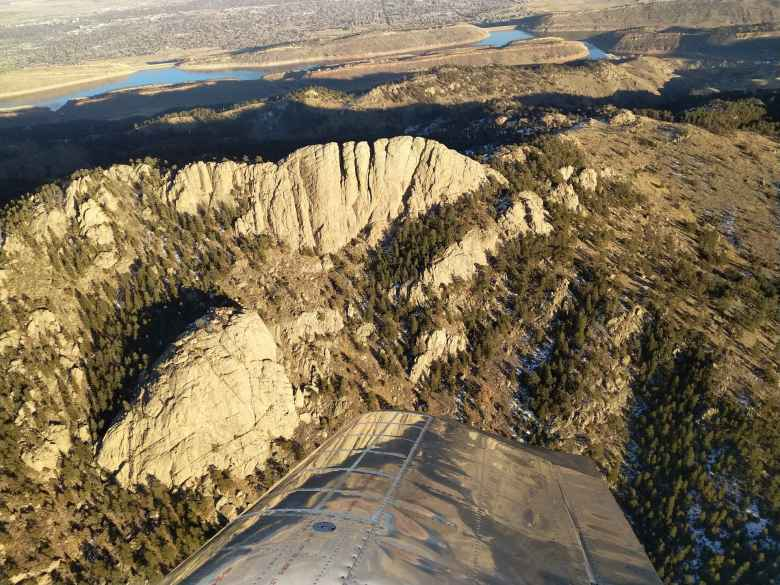 Flying over Horsetooth Rock in Fort Collins, Colorado.