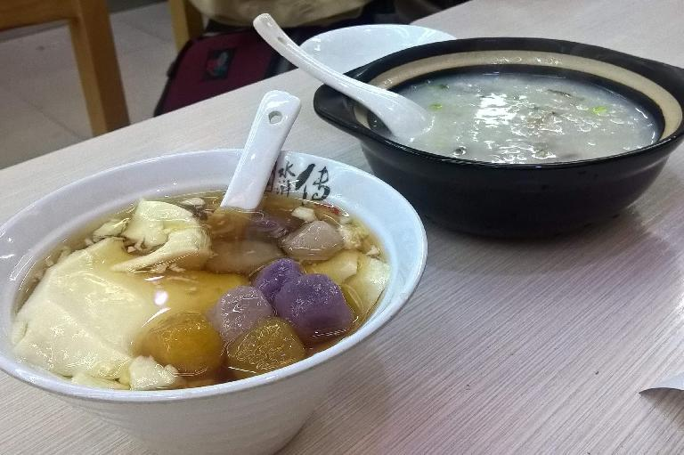 Some sort of sweet tofu in syrup desert, and congee (juk in Cantonese).