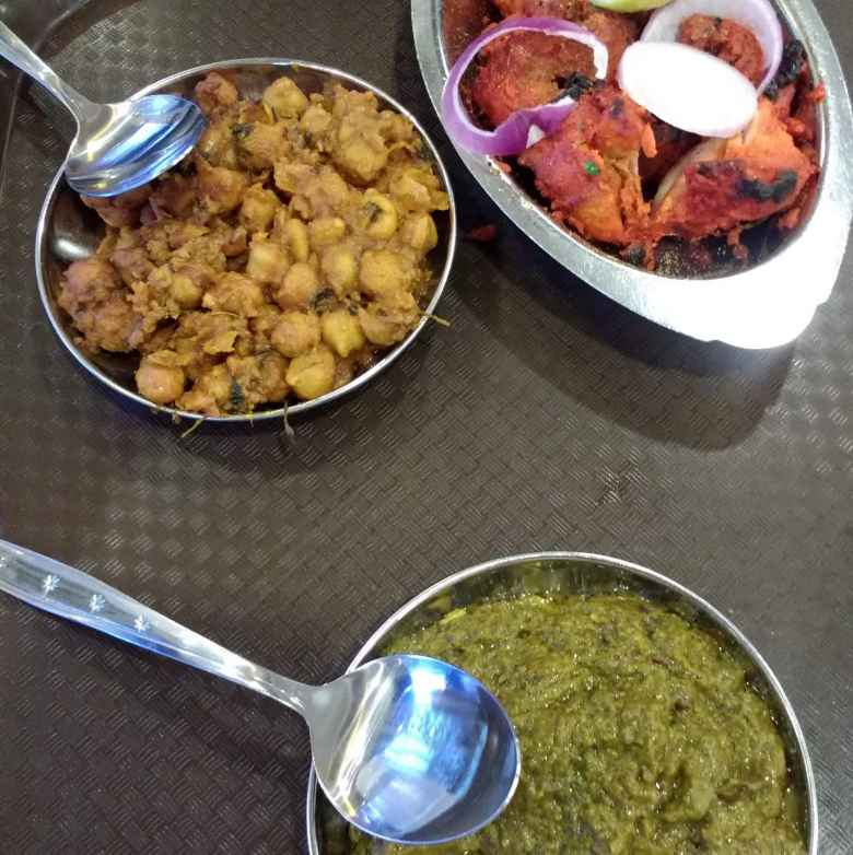 Chicken tikka, dry channa and palak peneer at Jaggi's Authentic Punjabi Cuisine in Little India, Singapore.