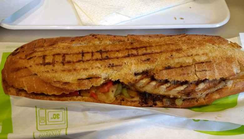 A bocadillo de pollo in Barcelona.