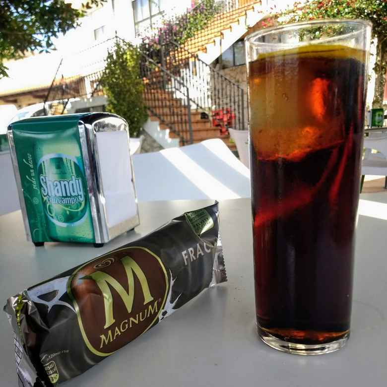 I got to a town at 2:17 p.m. and all the stores and restaurants were closed for siesta.  Therefore, my lunch was a Coke and Magnum ice cream bar at a bar.