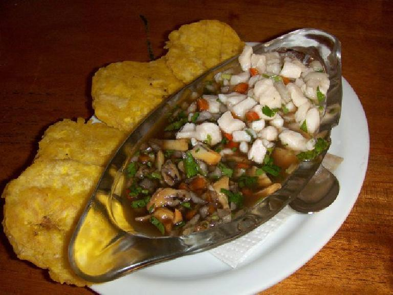 Ceviche mixto (a mix of raw fish and clam marinated in lemon and garlic) at a ceviche restaurant south of Dominical.
