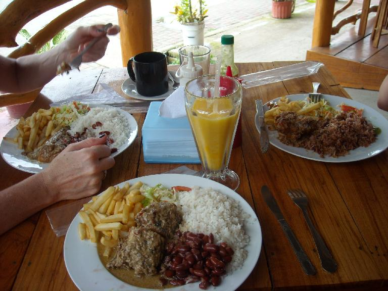 In Cahuita, we had a big lunch at a Caribbean restaurant.  Each of our combination plates had rice, beans, and French fries.  I also had fish. (March 21, 2011)