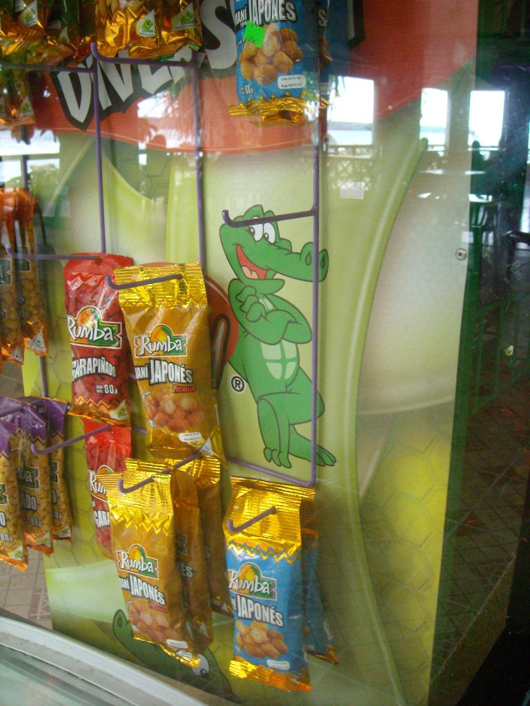 Happy lizard guy by packages of fried chips. (March 21, 2011)