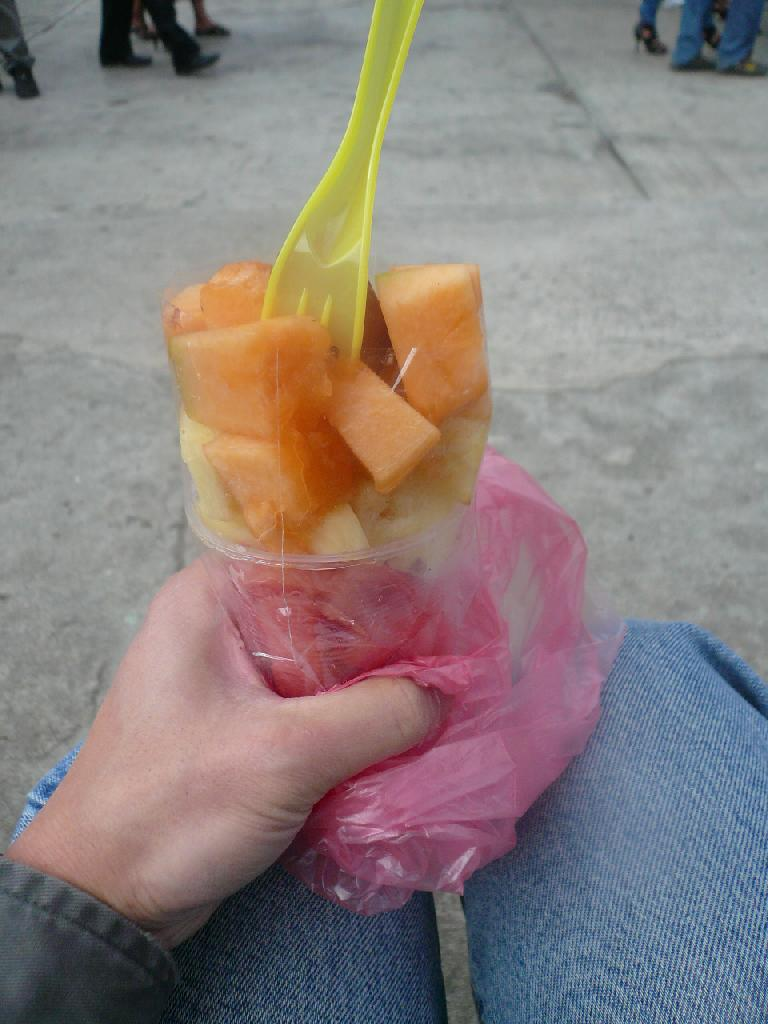A fruit cup in San Andres Itzapa.  (Four Quetzales, or USD$0.50.) (December 26, 2010)