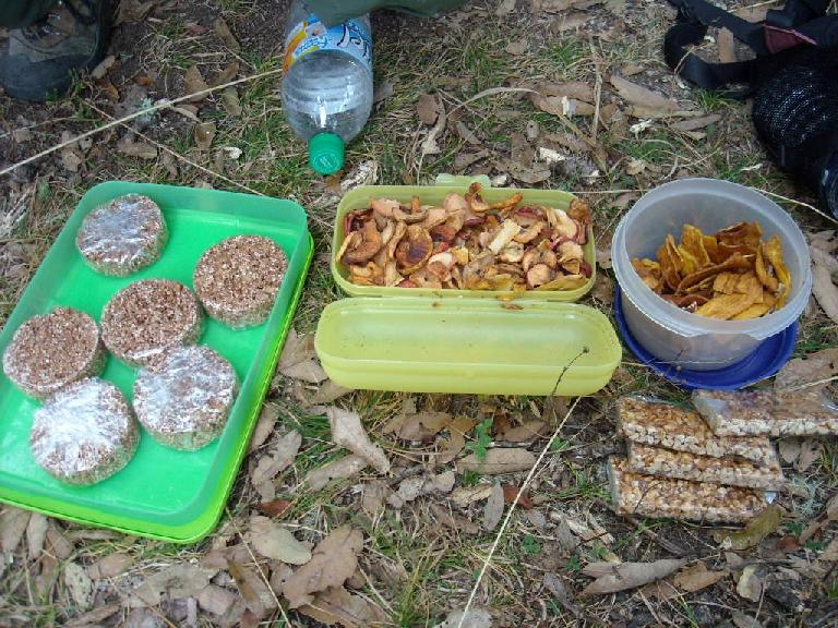 Amaranth/chocolate cookies, dried apples, fried bananas, and trail-mix-like bars made great hiking snacks, courtesy of our guide Marie of Tierra Ventura. (December 21, 2009)