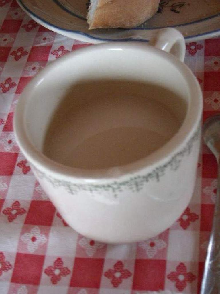 Atole was a warm, porridge-liek breakfast drink consisting of oats, cinnamon, chocolate and brown sugar. We were served this at the restaurant in San Miguel Amatl (December 21, 2009)