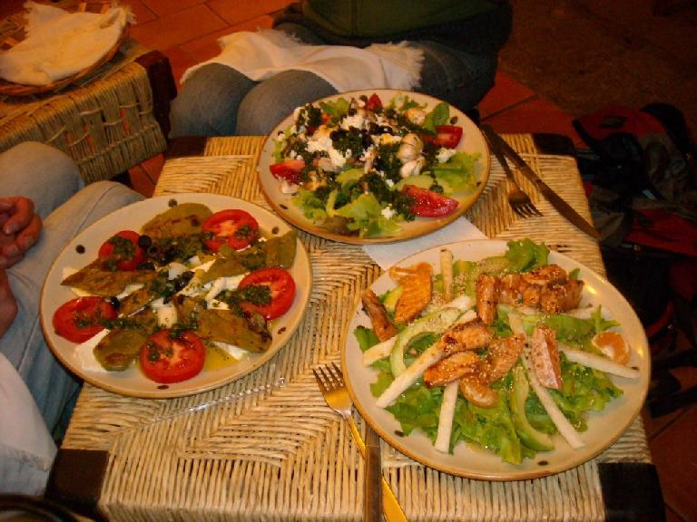 Our salads, including my Costa Chica salad (bottom right) with salm (December 24, 2009)