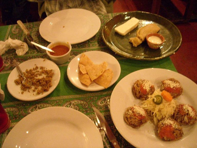 Fish stuffing (left) and tortilla chips was an appetizer at Zandunga in Oaxaca.  We also ordered ganaches (bottom right).