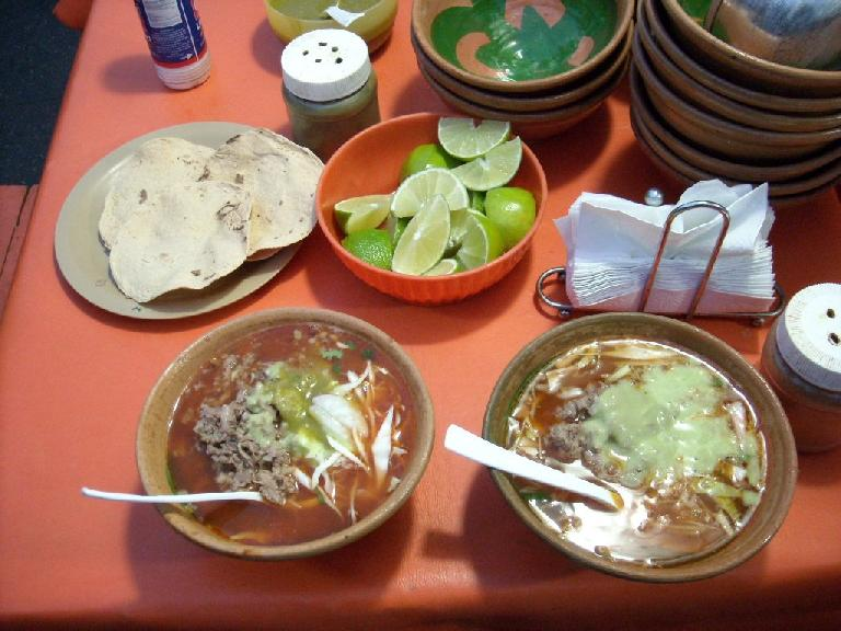 Posole de res (a Mexican soup with beef) from our favorite street food vendor in Oaxaca.