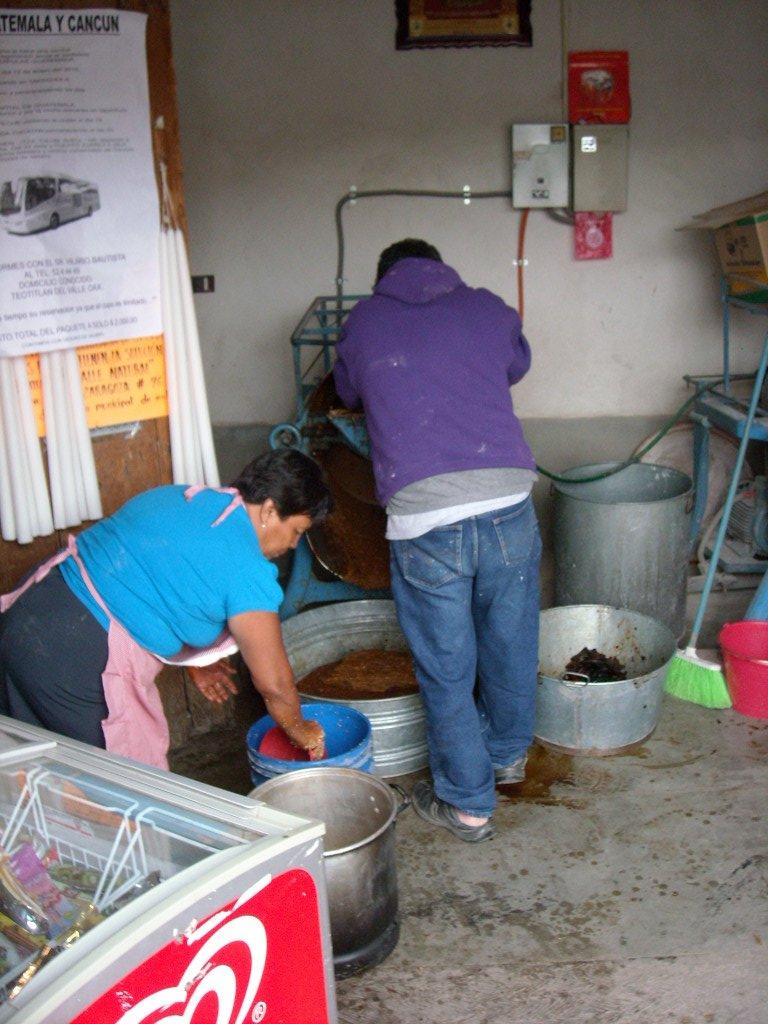 Making mole in Teotitlan del Valle.