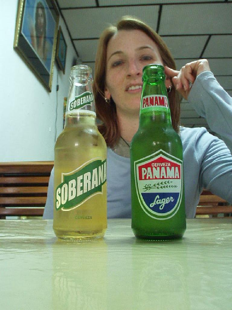 We tried Cerveza Soberana and Cerveza Panama at the Pizzeria Volcanican one night.  We agreed that Cerveza Panama was the country's best beer.