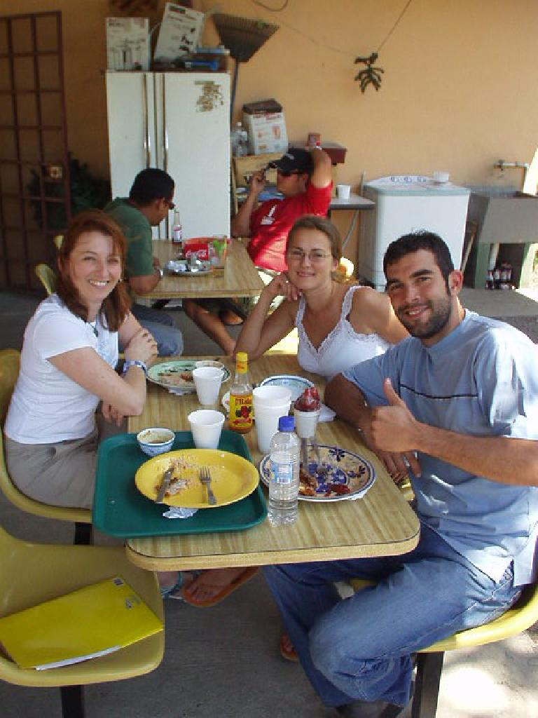 Nelvis Coffee was a favorite authentic Panamanian lunch stop for us, as it was close by and cheap.  Shown here is Tori, Anna, and Carlos. (March 2, 2007)