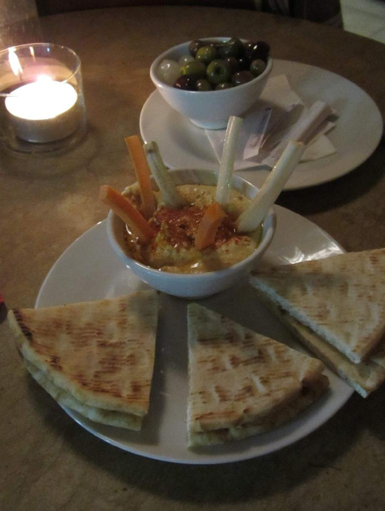 Pita bread and hummus.