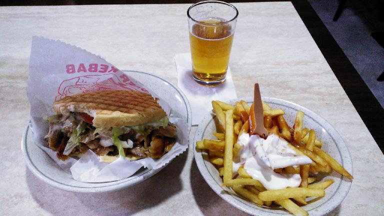 Near my hotel in Madrid, I got this d?ner kebab with fries and beer dinner combo.