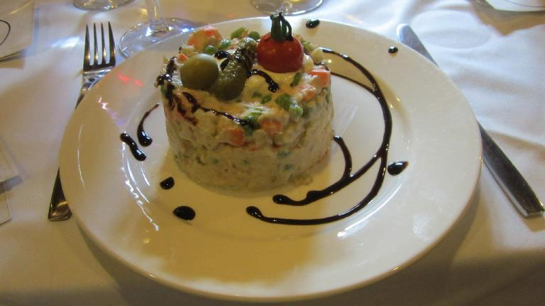 Russian salad (which was actually conceived by the French under Napolean's rule.)