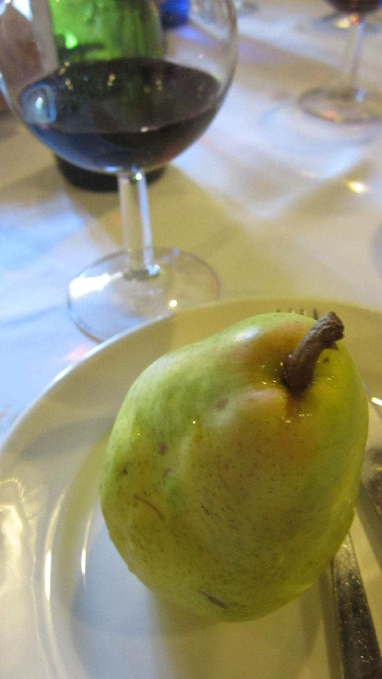 A pear for dessert.