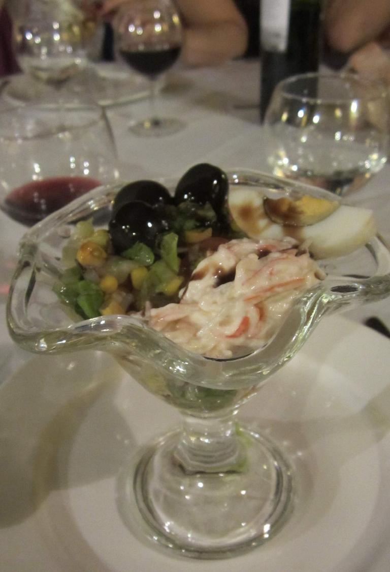 Some sort of seafood cocktail for dessert.