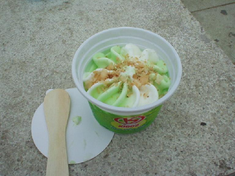 Kido's ice cream in Hue (with coconut).  Ice cream in Vietnam is (pleasantly) not as sweet in the U.S.. (July 11, 2006)