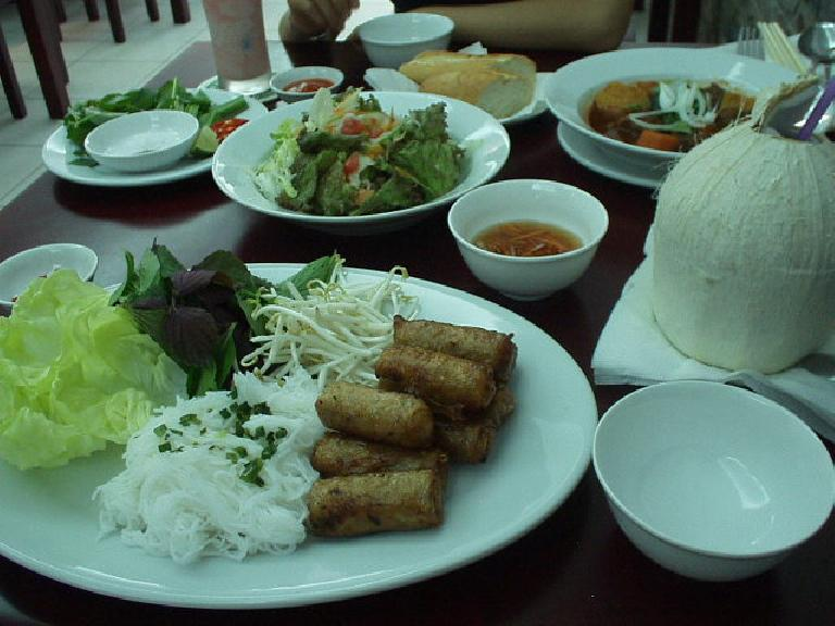 Vermicelli with spring rolls in Saigon. (July 20, 2006)