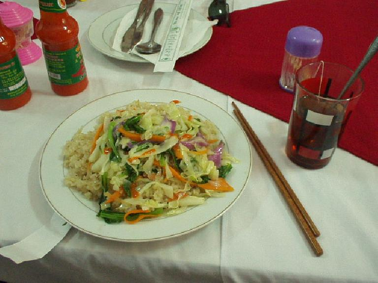 Rice and vegetables and Lipton tea for lunch during DMZ Tour. (July 9, 2006)