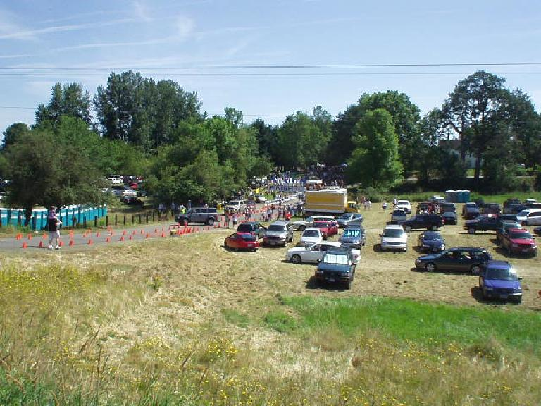 The race was actually held on Sauvie Island (2 laps around), which was about 12 miles northwest of downtown Portland.
