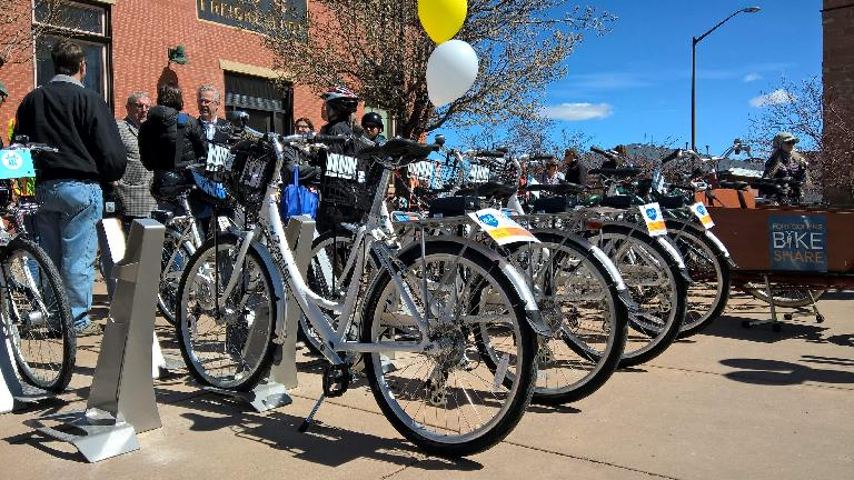 white Zagster bicycles, Fort Collins Bike Share ceremony