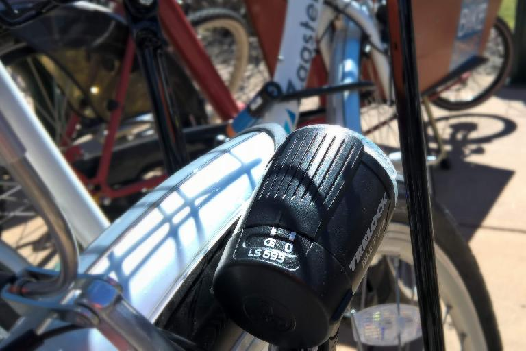 Front headlight on Zagster city share bicycle.