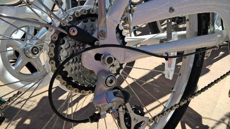 Rear cogs on Zagster city share bicycle.