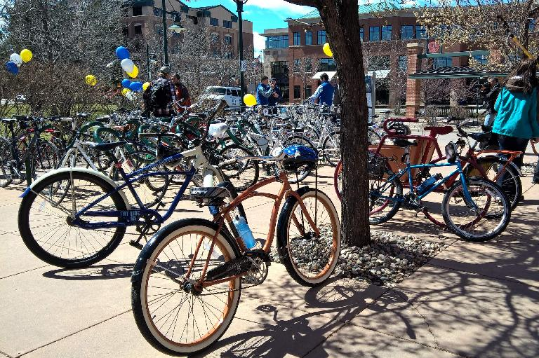 burnt orange 2012 Huffy Cranbrook cruiser bicycle, other bikes, Fort Collins bike share ceremony