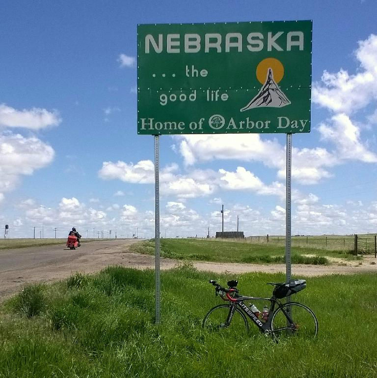 black Litespeed Archon C2 with large saddlebag, Nebraska the good life, Home of Arbor Day sign