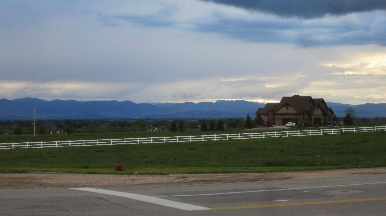 large country house, Front Range foothills, sunset, Weld County, Colorado