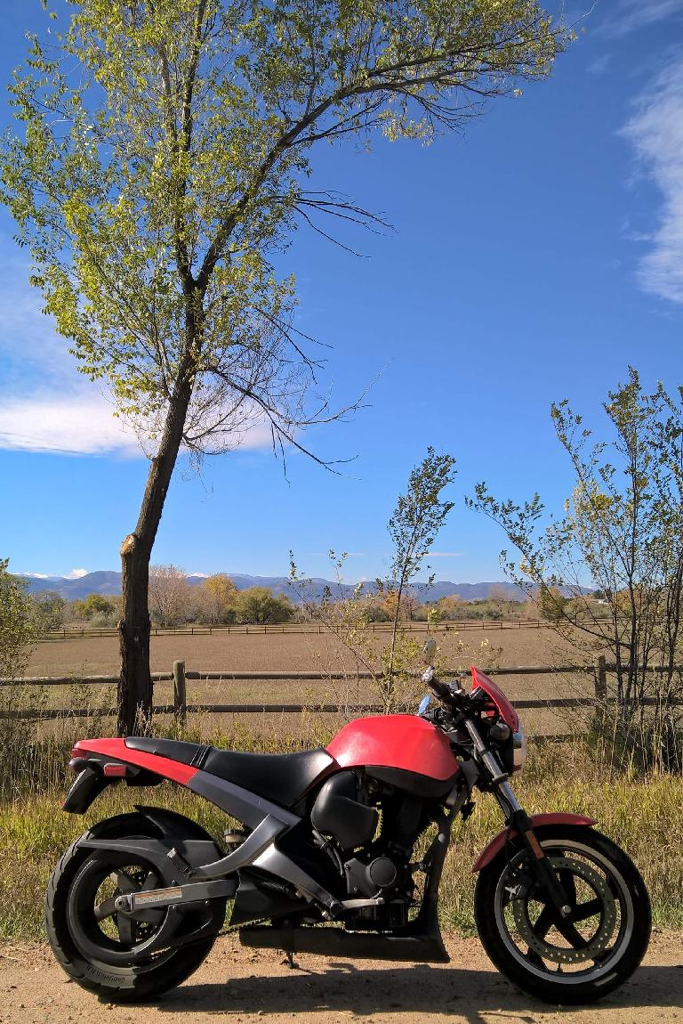red 2003 Buell Blast, fall colors, Colorado Front Range, Fort Collins