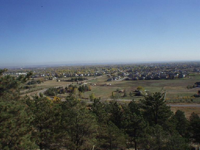 One can get a good view of the city by heading up into the Horsetooth Mountains.  There's green pine up here and fall foliage all over the city.
