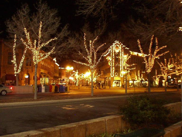 Old Town Square all lit up.