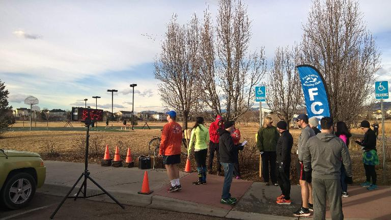Runners getting ready to start at the 2017 Fossil Creek Park 5k Tortoise & Hare race put on by the Fort Collins Running Club.