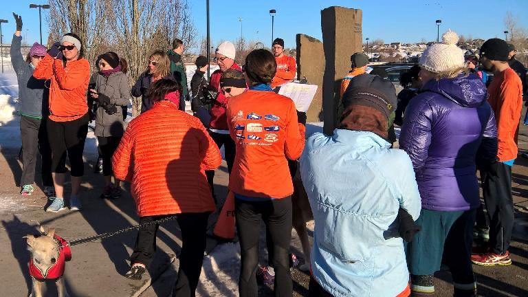 Runners wearing orange Denver Broncos colors during the 2016 Fossil Creek Park 5k Tortoise & Hare race.