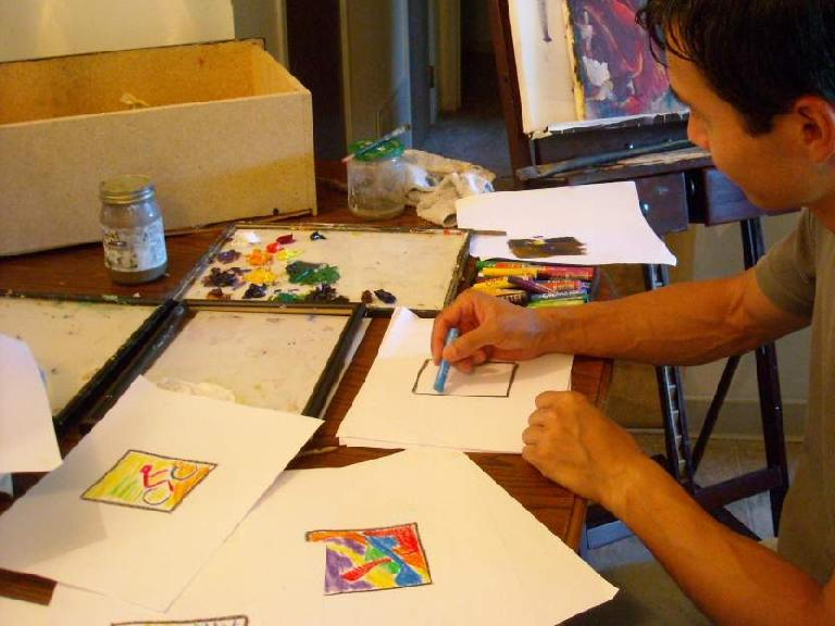 Felix Wong creating some quick thumb sketches for ideas on what to paint. (July 5, 2010)