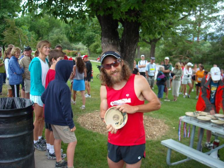 In the Firekracker 5k in the morning, Nick won a plate for placing 2nd in his age group.