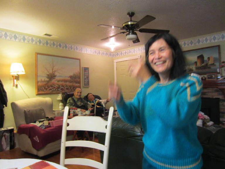 My mom dancing to the 3-step.