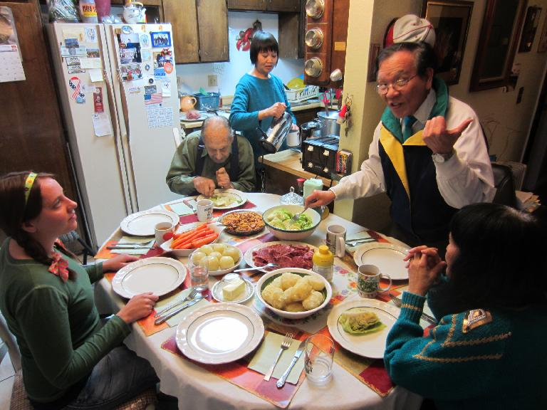 Our St. Patrick's Day feast at Frank's included carrots, spaghetti, cabbage, corned beef, yellow onions, and key lime pie.